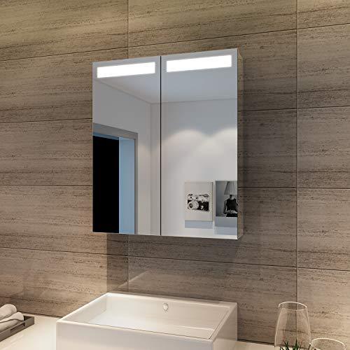 Elegant Led Spiegelschrank mit Beleuchtung 60 x 70 cm Infrarot Sensorschalter Badezimmerspiegel 2-türig Badschrank mit Rasierersteckdose