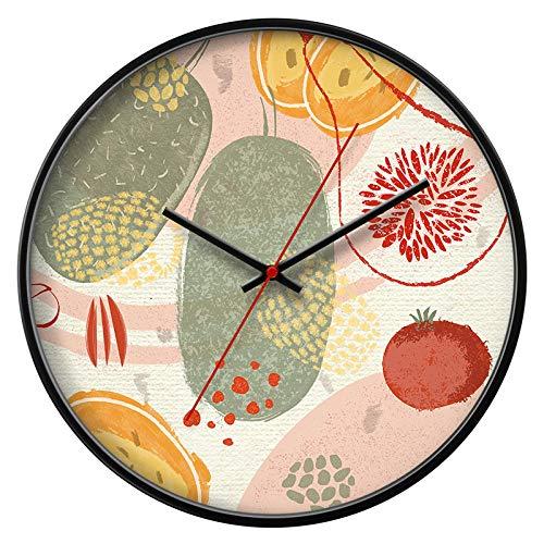 LANKOULI Wanduhr Wohnzimmer Schlafzimmer Dekoration runde stumme Künstler Uhr Taschenuhr-14 Zoll_1 schwarzer Rahmen