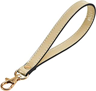 LIVEUP Wristlet Keychain Cellphone Genuine Leather Hand Strap with Lock Wrist Hand Strap Swivel Trigger (Beige)