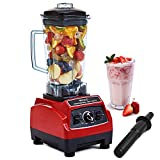 VECELO 2200 Watt Professional Countertop Blender, Total Crushing Technology with up to 45000 RPM Speed for Smoothies,Ice and Nut, 100% BPA Free Pitcher, Red