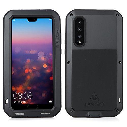 Huawei P20 Pro Hülle Case, Wasserdicht Stoßfest Alloy Aluminum Metal Bumper Gorilla Glass Soft Silikon Military Schwer Metall Starkes Hartes Hülle Tasche Cover für Huawei P20 Pro (Black)