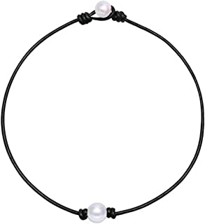 ZJ Design One Pearl Choker Necklace,Single Pearl Leather Pendant Necklace for Women White Pearl Jewelry Handmade
