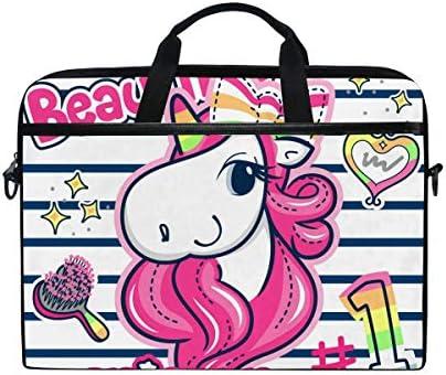 VALLER Laptop Bag Beautiful Unicorn Girl Shoulder Messenger Bag 15 Inch Laptop Case Computer product image