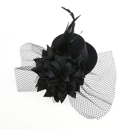 TINKSKY Blume Dekor Haar Clip Hut Fascinator Burlesque Punk Mini Zylinder für Damen (schwarz)