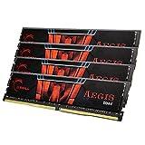 Mémoire PC - G.Skill Aegis 32 Go (4 x 8 Go) DDR4 2400 MHz CL15 - Kit Quad Channel 4 barrettes de RAM DDR4 PC4-19200 - F4-2400C15Q-32GIS (garantie à vie par G.Skill)