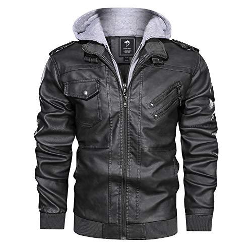 Herren-Motorrad-Lederjacke Herbst-Winter-Männer Windjacke Mit Kapuze PU-Jacken Männer Outwear Warme PU-Baseball-Jacken,c,XL
