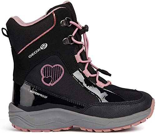 Geox Mädchen Snowboots New Alaska Girl, Kinder Stiefel,Winterstiefel,Schneestiefel,Schneeboots,Moon Boots,Canadians,Black/PINK,32 EU / 13 UK Child