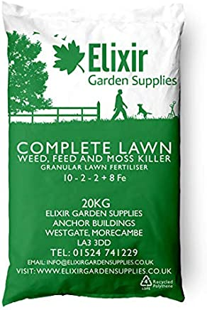 Elixir Gardens | COMPLETE LAWN | Weed, Feed and Moss Killer/ Lawn Green Up | Treats up to 625m² | 20kg