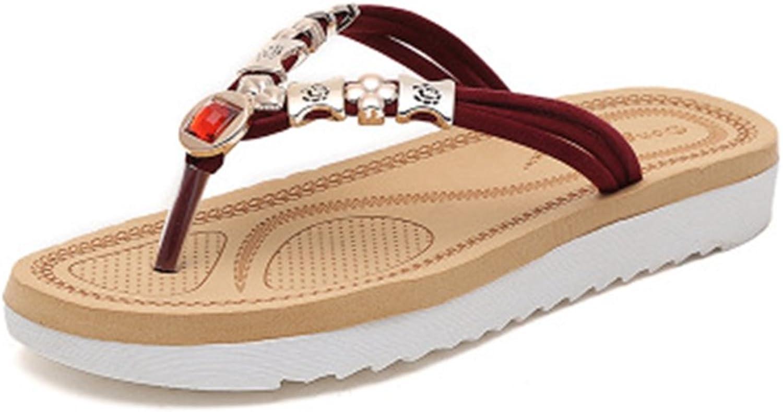 GIY Women's Flat Flip Flops Sandals with Metallic Jeweled Platform Comfort Sparkly Summer Beach Thong