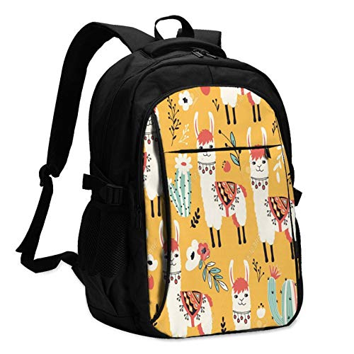 Travel Laptop Backpack with USB Charging Port, White Llama Seamless Pattern Business College School Computer Bag Gifts for Men & Women