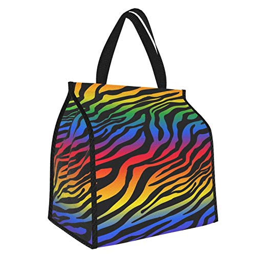 Bolsa de almuerzo con diseño de cebra arco iris para el almuerzo, bolsa de almuerzo más fresca, organizador de comida grande, contenedor de trabajo y viajes escolares para mujeres, hombres