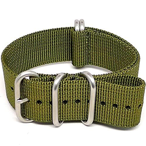 DaLuca Ballistic Nylon Military Watch Strap - Olive (Matte Buckle) : 20mm