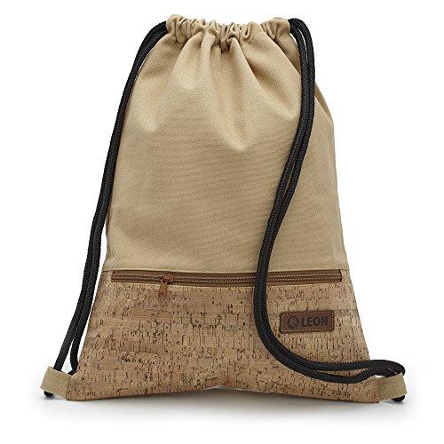By Bers LEON Turnbeutel mit Innentaschen in Kork oder Schlange -DesignRucksack Tasche Damen Herren & Teenager Gym Bag Draw String (Kork_Beige)