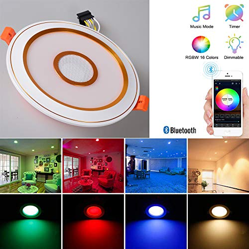 SHADIOA Bluetooth Inteligente RGBW luminarias Panel Regulable Ronda Ocultos para salón, Dormitorio,...