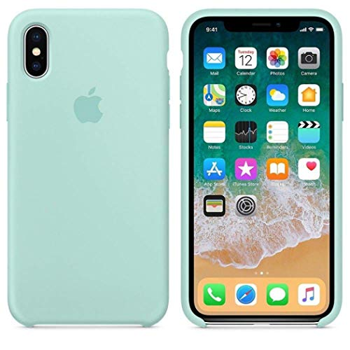 John Compatible for iPhone X Case, Liquid Silicone Case Soft Microfiber Cloth Lining Cushion Compatible with iPhone X (5.8') (Marine Green)