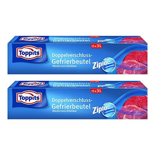 Toppits Doppelverschluss Beutel 3L (27 x 24cm), 2er Pack (2 x 15 Beutel)
