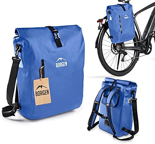 Borgen Bolsa para bicicleta 3 en 1, bolsa para portaequipajes, mochila para bicicleta y bandolera, 100% resistente al agua (azul, 18 L)