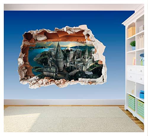 Hogwarts Castle Hole in Wall – Harry Potter 3D-Druck Vinyl-Aufkleber (extra groß, 800 x 575 mm)
