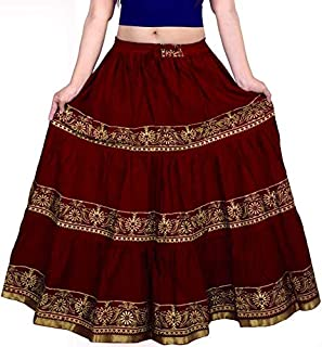 Women's Printed Long Skirt (Maroon, Free Size)