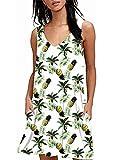 Canotta da donna spiaggia T Shirt DressesSummer senza maniche gilet mini abito con tasche stampa floreale Ananas S