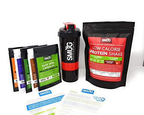 Smug Diet and Detox Plan | Fat Loss Package with Slimming Pills and Protein Shake | Designed to Help You Cleanse and Lose Weight in Just 9 Days | Low Carb and Calorie | Includes Routine (Strawberry)
