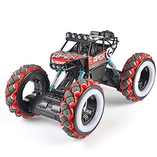 El juguete favorito del bebé, gran regalo para los 1/10 RC CAR 4WD 2.4HZ Off-Road Stimbating Aleación Control remoto Coche Camión de alta velocidad Juguete para niños con luz LED y música, Rojo