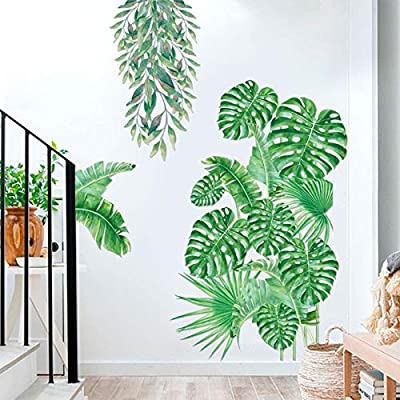 Green Plants Wall Decor for Living Room, Monstera Leaf Wall Decals for Bedroom Nursery Office Store Nordic Wall Decorations Wallpapers Delicate Murals Art Applique