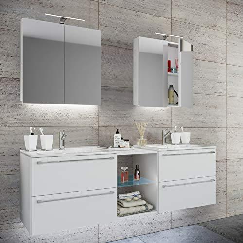 VCM Doppel - Waschplatz Waschtisch Waschbecken Unterschrank Badinos XL-XXL B. 195cm + Spiegelschrank: Weiß