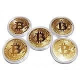 ビットコイン レプリカ Bitcoin replica 仮想通貨 金運グッズ (ビットコイン(金)5枚セット)