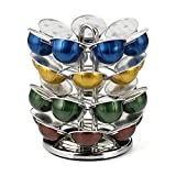 Nifty Vertuoline Coffee Pod Carousel – Nickel Chrome Finish, 28 Pod Capsule Holder, Spins 360-Degrees, Lazy Susan Platform, Home or Office Kitchen Counter Organizer