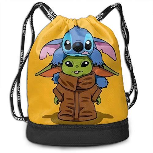 Jiadourun Anime Lilo Stitch Star Of War Bundle mochila con cordón mochila portátil para el ocio y la tendencia de viaje, bolsa de almacenamiento para el hombro 38 x 40 cm