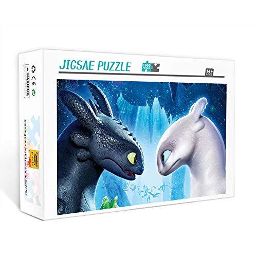 Puzzle de 1000 piezas para adultos Cómo entrenar a tu dragón Juego familiar, trabajo en equipo, regalo y regalo para amantes o amigos. 75x50cm