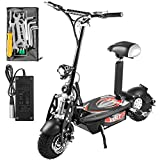 Bestauto Folding Electric Scooter 48V 1000w Motor with Adjustable Height Black