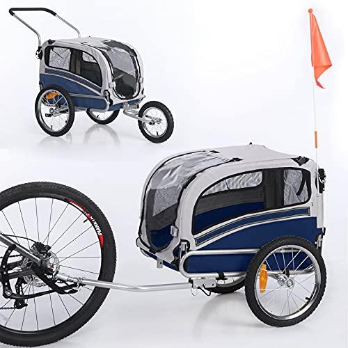 Sepnine Leonpets 2 in 1 Dog Stroller Pet Dog Bike Trailer Bicycle Trailer and Jogger,Easy Fold 20303 (Blue/Grey)