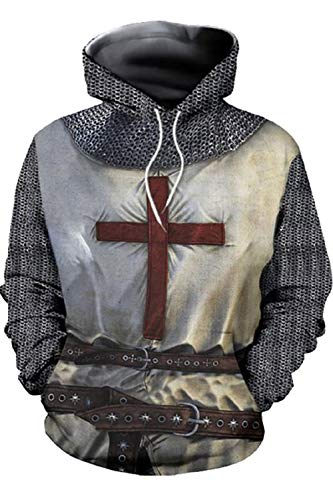Mens Knight Templar Hoodie Shirts Sweatshirt Armor Crusader Cross Medieval Cosplay Costume Jacket (M, Style 3)