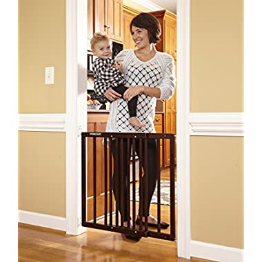 Stork Craft Easy Walk-Thru Wooden Safety Gate, Espresso