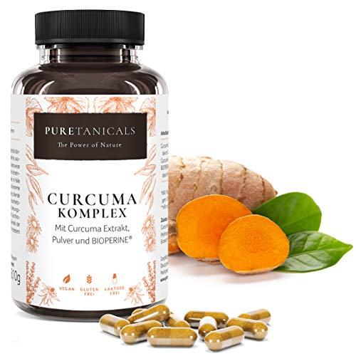Kurkuma Kapseln Bio hochdosiert + Bioperine - Curcuma Pulver + Extrakt + Piperin schwarzer Pfeffer | 310mg Curcumin pro Kapsel & Tagesdosis | Vegan laborgeprüft ohne Magnesiumstearat aus Deutschland