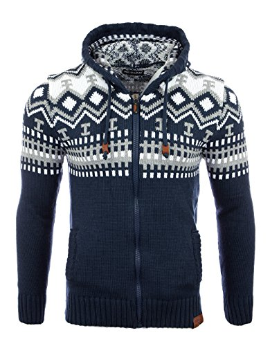 Reslad Herren Grobstrick Norweger Winter Strickjacke mit Kapuze RS-3104 Blau XL