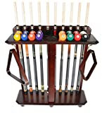 Cue Rack Only - 10 Pool - Billiard Stick & Ball Set Holder Floor Stand Choose Mahogany, Black Or Oak Finish (Mahogany)