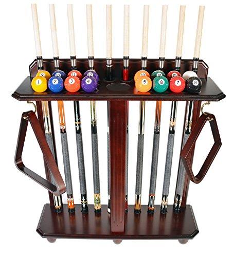 Iszy Billiards Cue Rack Only - 10 Pool - Billiard Stick & Ball Set Holder Floor Stand Choose Mahogany, Black Or Oak Finish (Mahogany)