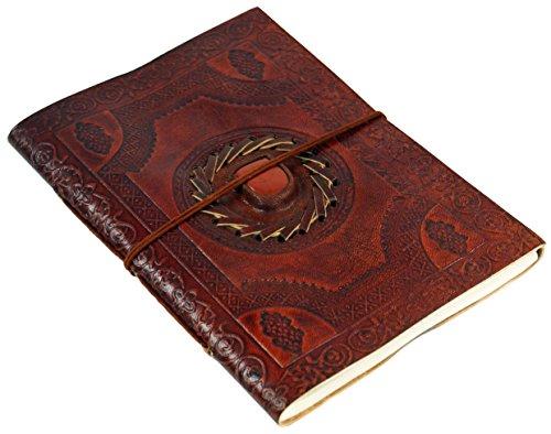 Guru-Shop Notebook, Cuero, Cuero Diario con la Unión y la Decoración de Piedra 15 x 20 cm, Cuadernos y Diarios
