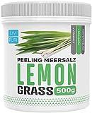 LivPuri Meersalz Peeling Lemongrass mit Jojobaöl, 500g Scrub Salt optimal anwendbar als Körperpeeling, Duschpeeling, Saunasalz, Body Scrub, Saunazubehör - sanfte & wohltuend