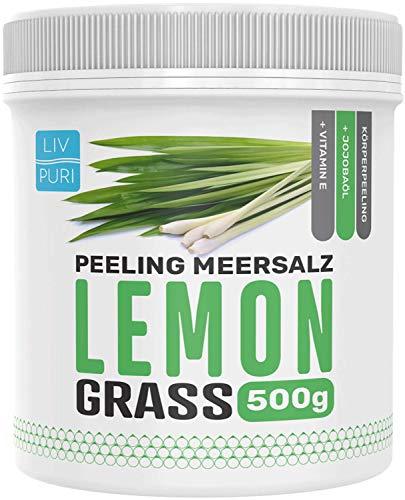 LivPuri® Körperpeeling Damen & Herren aus Meersalz mit Jojobaöl 500g - Erfrischendes Salzpeeling für ein straffes Hautbild - Peelingsalz für Dusche und Sauna - Lemongrass
