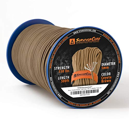 620 LB SurvivorCord, 500 FT Spool, Coyote Brown - The Original Patented Type III Military 550 Paracord/Parachute Cord with Integrated Fishing Line, Multi-Purpose Wire, and Waterproof Fire Starter.