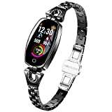 Women Fitness Tracker Bracelet - taStone Heart Rate Watch Smart Blood Pressure Wristband Color Screen Watch with Sleep monitoring Multi Sport Calories Pedometer Gift for Samsung S8/S9/S10+,Black