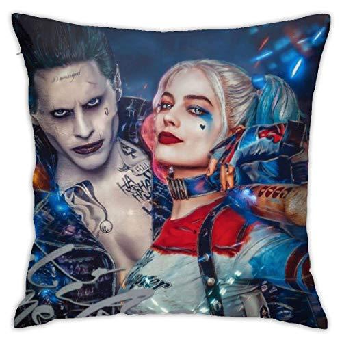 songyang Fundas de almohada decorativas de algodón para sofá o cama, 45 x 45 cm, diseño de payaso de Harley Quinn Girl and The Joker