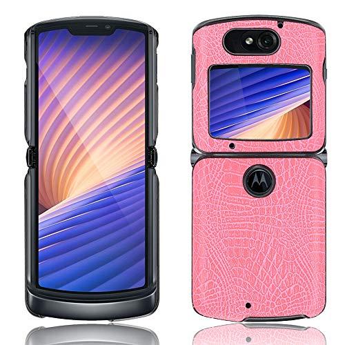 Hauw Hülle für Motorola razr 5G,PU Leder & PC Handyhülle Rückseite für Motorola razr 5G,Rosa
