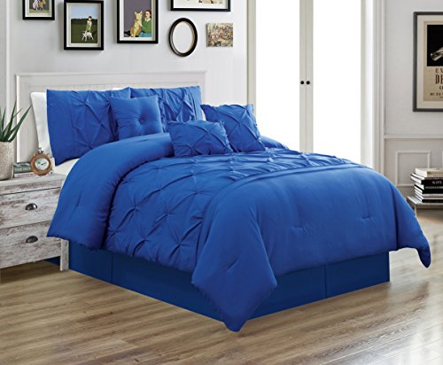 Grand Linen 7 Piece QUEEN size Solid ROYAL BLUE Double-Needle Stitch Puckered Pinch Pleat Stripe Includes 1 Comforter, 3 Decorative Pillows, 1 Bed Skirt, 2 Shams