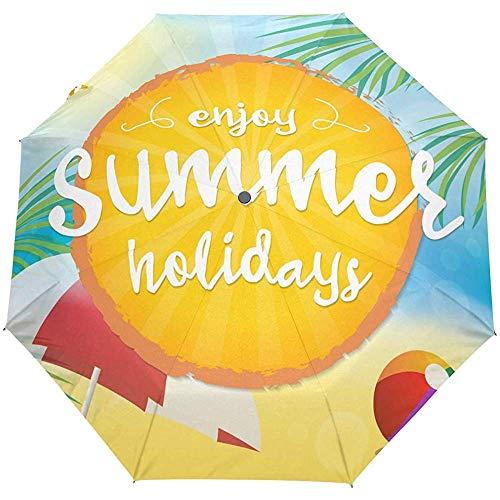 Hello Summer Beach Ocean Sea Paraplu met automatisch openingsmechanisme, compacte UV-bescherming
