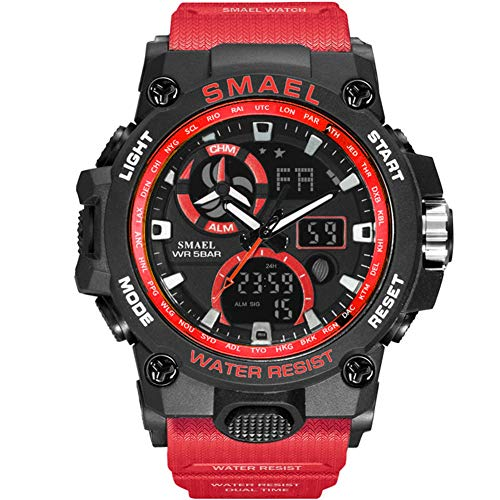 SMAELBand Sport Watch Men Military Boy Watches Army Orologio da Polso Impermeabile S Shock 50m Moda Uomo Orologi Sport,Rosso